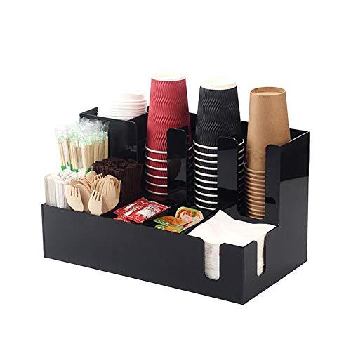 11 Compartimentos 2 Niveles Organizador De Café Condimento, Organizador De Almacenamiento De Vasos, Material Acrílico, Para Vasos De Papel, Servilletas Y Vajillas Almacenamiento, Etc.
