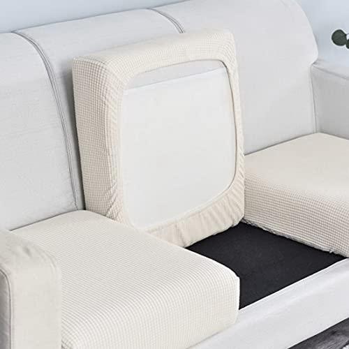 laamei Funda para sofá elástica antimanchas, universal, de color liso, para sofá de 1/2/3/4 plazas, supersuave, antiarañazos, color blanco, tamaño ampliado