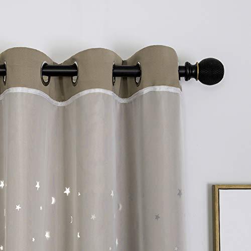 2 Piezas Cortinas Opacas de Doble Capa con Diseño de Huecas Estrellas,Cortinas de Salón Opaca para Ventana de Habitación con Ojales,Cortinas de Oscurecimiento de Dormitorio Infantil B 2x132x160CM