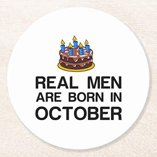 Posavasos para bebidas con base de corcho, juego de 4 posavasos redondos con texto 'Real Men are Born in October'