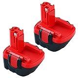 Topbatt 2piezas 12V 3.0Ah Ni-MH para Bosch Batería de repuesto BAT043 BAT045 BAT046 BAT049 BAT120 BAT139 2607335273 2607335249 2607335709 2609200306 GSR12-2 GSR12-1 PSB12VE-2 PSR1200