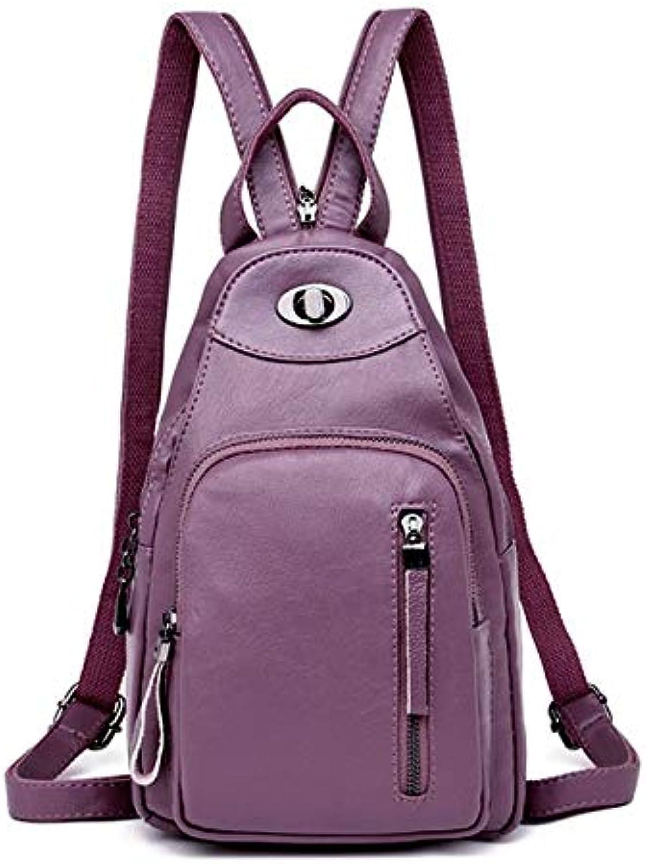 QYYDSJB Neue Casual Rucksack Weibliche Marke Leder Frauen Rucksack Designer Umhngetaschen Für Frauen Reise Rucksack Brieftasche 13 Zoll Lila