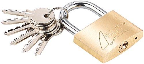 AGT Vorhangschloss: Vorhängeschloss aus Messing, 48 mm, 6 Schlüssel (Vorhängeschloss mit 6 Schlüsseln)