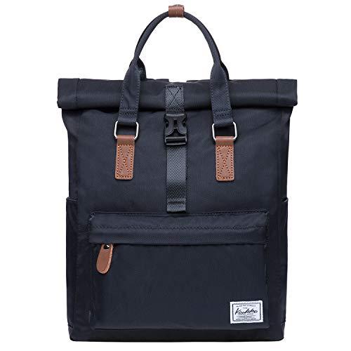 Rolltop Rucksack Einfacher und Unisex Daypack Handtasche für Schul Reisen für 12 Zoll Notebook,28 * 11 * 40cm/ 13L (Schwarz[K1047])