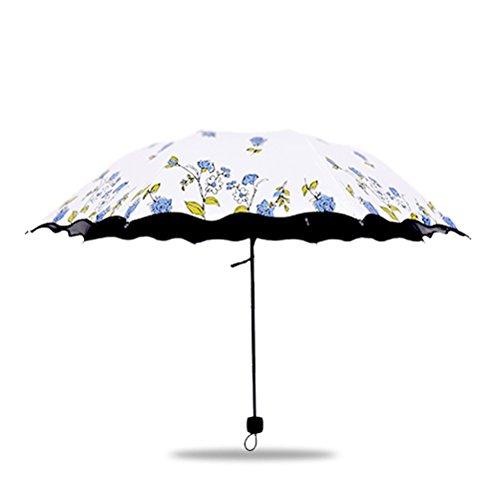 Maibar Paraguas Plegables Sombrillas Parasoles Plegable 8 Huesos Flor Color de Rosa Paraguas Parasol Sombrilla Anti UV Impermeable a Prueba de UV en Verano para Mujeres (Azul)