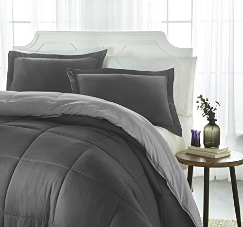 ienjoy Home Collection Down Alternative Reversible Comforter Set - Queen - Gray