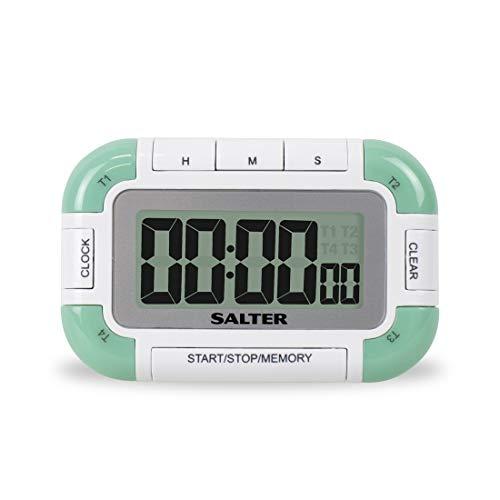SALTER 4 Way digitale Küchenuhr, Stopuhr, 4 Timer gleichzeitig mit unterschiedlichen Alarm, Erinnerungsfunktion, Magnetisch und integriertes Standbein, Gut lesbares LCD, bis zu 99Std 59min und 59 sek