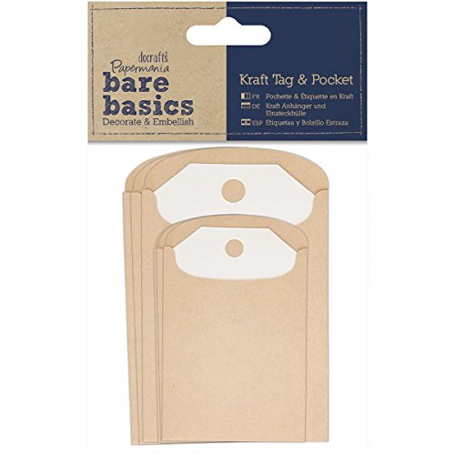 Papermania Bare Basics Kraft Rectangle Tag and Pocket, Pack of 6, Brown