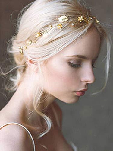 Simsly Braut Hochzeit Haar Reben Gold Blume Blatt Stirnband Braut Kopfschmuck Hochzeit Haarschmuck Haarstück für Frauen und Mädchen
