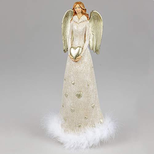 Formano Deko-Engel aus Kunststein, 36x15cm, 1 Stück, Creme-Beige-Gold, mit Federn