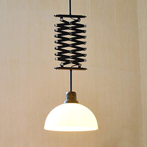 Ladiqi Industrial Dome Shade Hanging Pendant Lighting Fixture Extendable Chandelier Island Light Fixture for Dining Room Kitchen Cafe Restaurant (White)