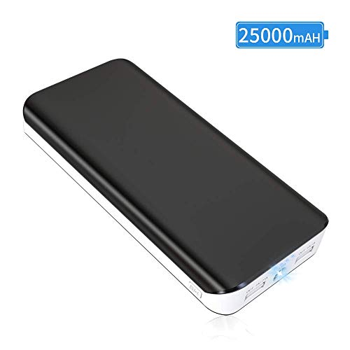 Power Bank 25000mAh Cargador Portátil con Ultra Alta Capacidad, Bateria Externa para Movil con Puertos Dobles + Linterna LED de 4 Modos, para iPhone X 8 7 6 Puls, Dispositivos Android y Tablet
