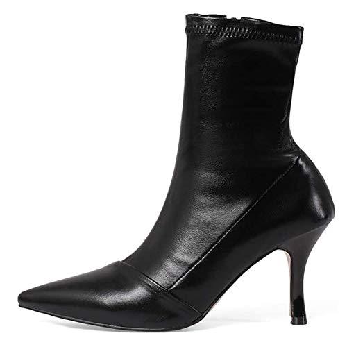 SHENAISHIREN For Mujer del tacón de Aguja, Las señoras de Las señoras del Dedo del pie en Punta Botas Puntiagudas Estilete de los Cargadores del Tobillo Atractivas Zip Botas (Color : A, Size : 37)