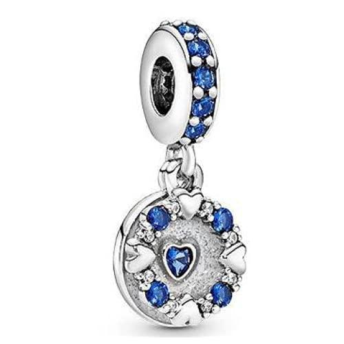 ZHANGCHEN Momentos de Plata de Ley 925 encantos de Estrella Azul Cielo Love Bead Fit Original Pan Pulsera para Mujeres DIY JOYERÍA