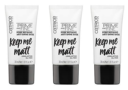 Catrice Prime And Fine Pore Refining Anti-Shine Base, MakeUp, Foundation, transparent, für Mischhaut, Anti-Glanz, langanhaltend, mattierend, matt, vegan, ölfrei, ohne Parfüm, 3er Pack (3 x 30ml)