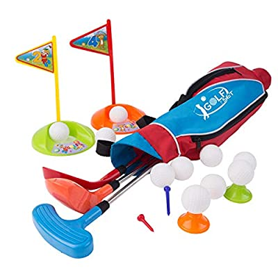 Liberry Kids Golf Clubs Set, Golf Toy with Golf Bag, 3 Adjustable Golf Clubs, 2 Practice Holes, 4 Golf Tees and 10 Balls, Early Education, Indoor, and Outdoor Exercise Toy for Child Boys and Girls