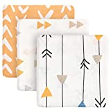 """TILLYOU 3-Pack Muslin Swaddle Baby Blanket Set, Silky Soft Bamboo Receiving Blanket for Boys and Girls, Unisex Cotton Wrap Blanket for Infant Newborn, Large 47"""" x 47"""", Orange Arrows and Figures"""