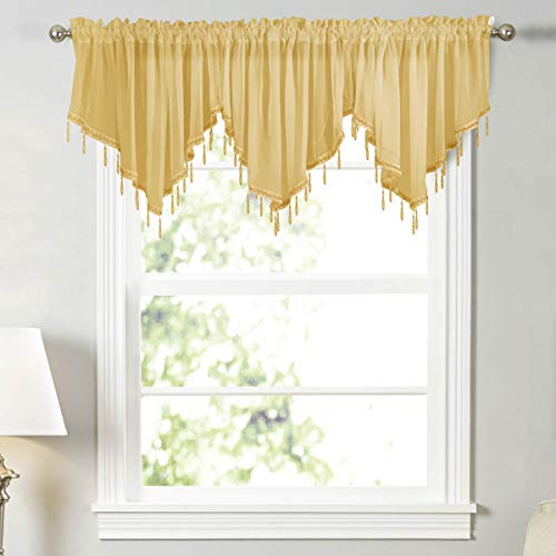 WUBODTI Yellow Sheer Voile Beaded Window Valances 3 Pieces Kitchen Cafe Rod Pocket Swag Valance Curtain with Bead Trim for Girls Bedroom Bathroom Nursery Living Room, 51 x 24 Inch Length