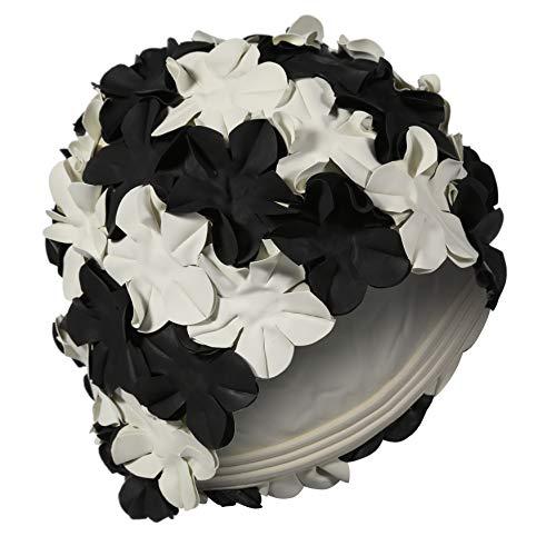 Fashy Cuffia da nuoto, da donna, bianca e nera con petali