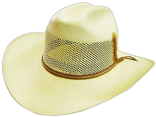 Modestone Breezer Feather Bangora Straw Chapeaux Cowboy 55 Off-White