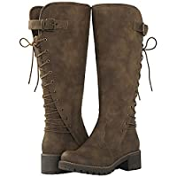 Camel Lace Up Back Knee High Fashion Boots