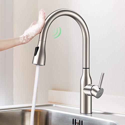 Synlyn Rubinetto da cucina con sensore di tocco Rubinetto da cucina estensibile con doppia doccia Rubinetto lavello girevole a 360 ° Miscelatore ad alta pressione in acciaio inossidabile
