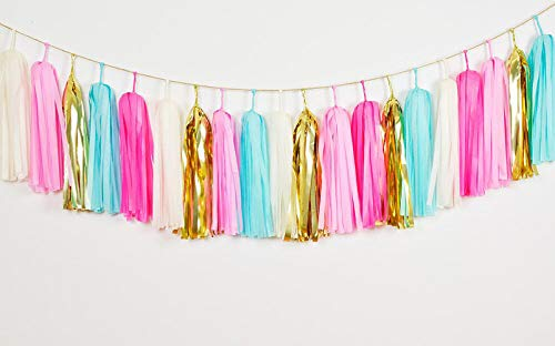 GUZON 25 PCS Tissue Paper Tassels, Tassel Garland Banner for Wedding, Baby Shower and Party Decorations, DIY Kits (Metallic Gold,Ivory,Pink,Blue,Rose)