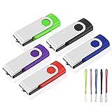 Chiavetta USB da 8 GB, confezione da 5 chiavette USB 2.0, memoria stick, girevole, porta chiavi USB U disco (5 colori misti: rosso, verde, nero, blu, viola)