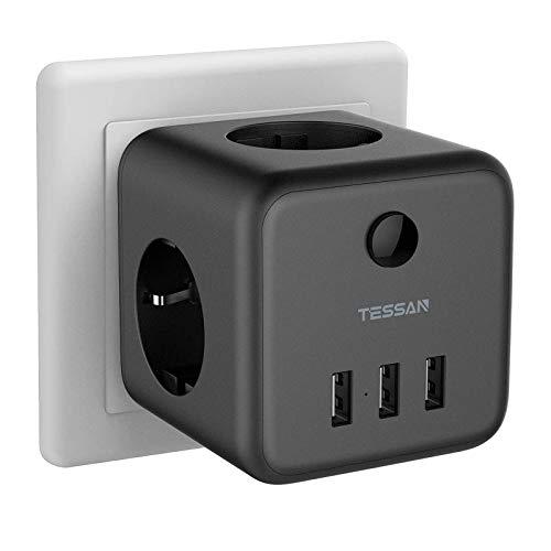 TESSAN Enchufe USB, Enchufes estándar 6 en 1 Ladron Enchufes Triple con 3 puertos USB(3A),Cubo Enchufe Multiple Pared con Interruptor, Cargador USB Compatible con Phone, Pad, Ladron USB