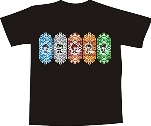Black Dragon - T-Shirt E292 - weiß - Größe XXL - Logo - Grafik - abstraktes Comic - Manga Ornament mit verschiedenen Figuren - Funshirt Mann Frau Party Fasching Geschenk Arbeit - Bedruckt