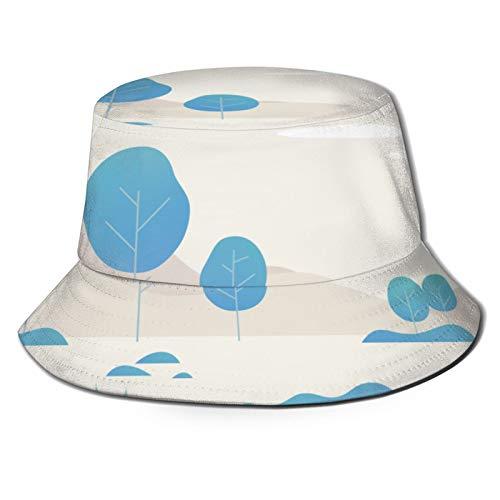 Sombrero de Pesca,Vector de Espacio de Color de fantasía de árbol Azul,Senderismo para Hombres y Mujeres al Aire Libre Sombrero de Cubo Sombrero para el Sol