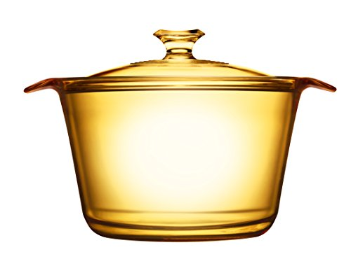 VISIONS Visiones Pyroceram Flair Olla con Cubierta de Cristal, Marrón, 30,4x 23.8x 15,3cm