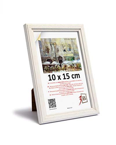 3-B JENA - Cornice portafoto in legno, 10 x 15 cm, colore: Bianco
