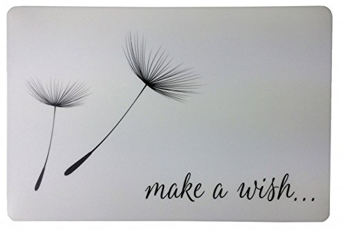 Schreibtischunterlage ' Make a wish ' weiß mit schwarzer Pusteblume 40 x 60 cm abwischbar