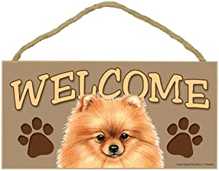 "SJT ENTERPRISES, INC. Pomeranian Welcome Sign 5"" x 10"" MDF Wood Plaque (SJT61554)"