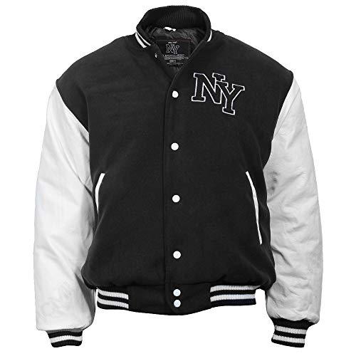Mil-Tec NY Baseball Jacke mit Patches (Schwarz/Weiß/XL)