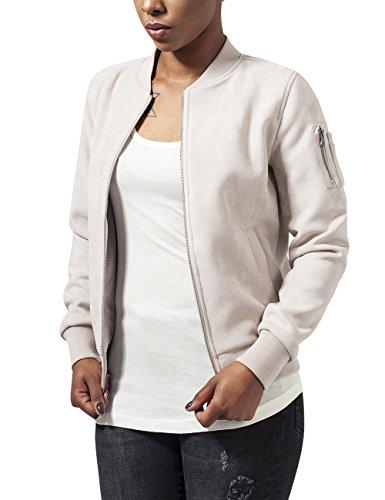 Urban Classics Damen Ladies Imitation Suede Bomber Jacket Jacke,  - Elfenbein (sand 208) -   XS