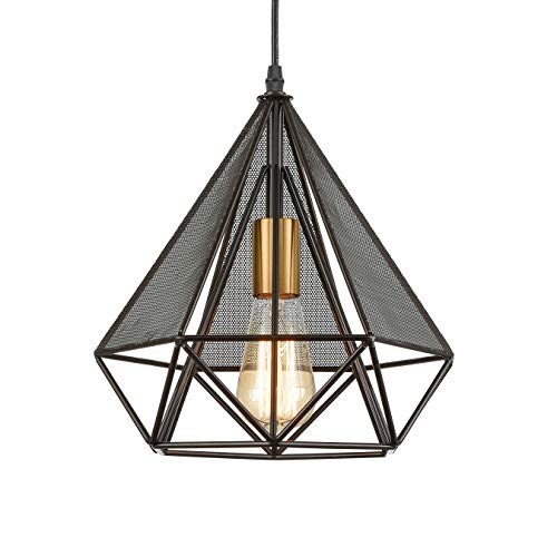 Loft Geometric Metal Cage Pendant Lights Diamond Shape Hanging Light for Kitchen Island Brass Socket