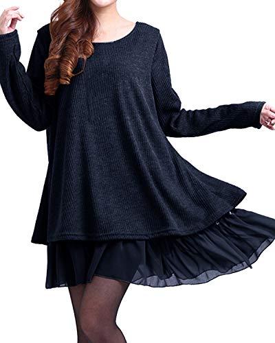 ZANZEA Pullover Damen Langarm Stricken Pulloverkleid Strickkleid Rundhals Longpullover Stricken Kleid Kurz Lässig Blau EU 52