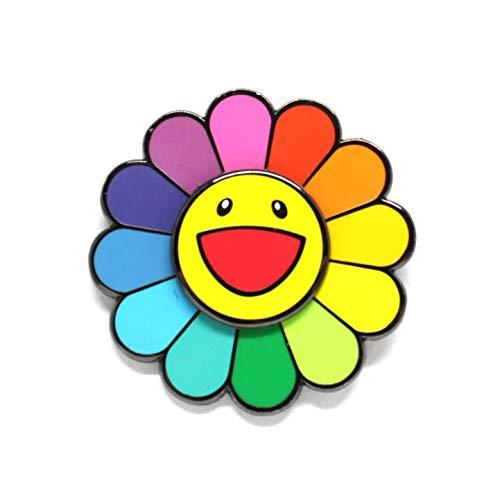 Happy Flower Spinning Hard Enamel Lapel Pin (1.5', Rainbow)