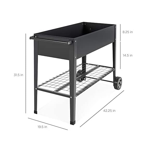 Best choice products elevated mobile raised ergonomic metal planter garden bed for backyard, patio w/wheels, lower shelf… 2 drainage holes: allows excess water to drain out, preventing root rot and oversaturation while keeping the soil fresh multipurpose storage: get the most out of your planting and storage space with a large-sized planter. Designed with a built-in storage shelf for easy-access to your gardening accessories ergonomic handlebar: comes equipped with an adjustable handlebar that can attach to either the top or bottom of the planter, making it easy to maneuver according to your need