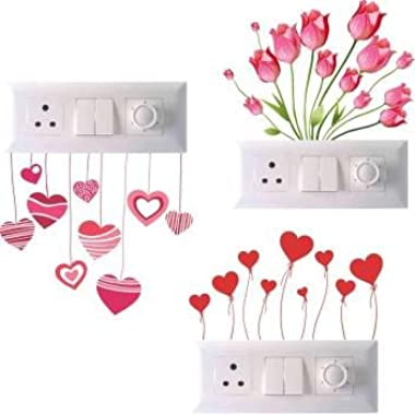 Madhuban Décor Switch Board Sticker for Doorbell and for Switch Board Wall 3D Decal Creative Multicolor Beautiful Standard Si