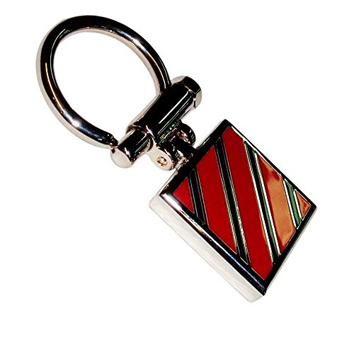 Stainless Steel Key Ring - Diagonal Black & Red Enameled Stripes - Key Ring Stainless Steel