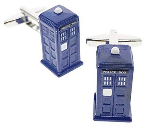 BMC Pair Quality 3D Police Call Box Cufflinks Tardis Policeman Telephone Phone TIME Travel Blue UK Seller