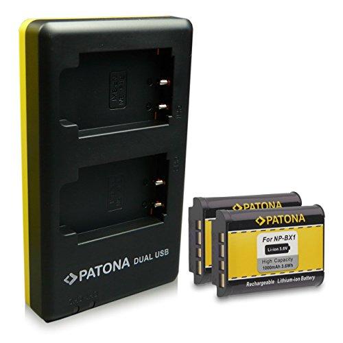 PATONA Cargador Doble + 2X Batería NP-BX1 Compatible con Sony CyberShot DSC-RX100 DSC-H400 DSC-WX500