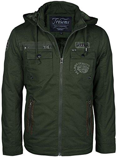 Herren Winter Jacke Military Style gefüttert Kapuze Parka Army Fliegerjacke, Größe:M, Farbe:Army Grün