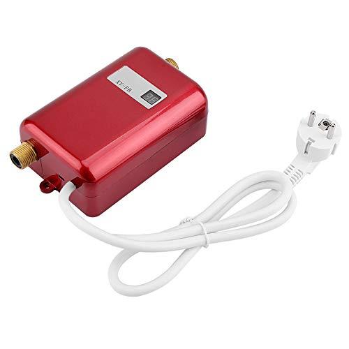 220 V 3400 W Mini-Durchlauferhitzer, elektrisch, ohne Tank, Warmwasser-Heizung, für Badezimmer, Küche, Waschen, Rot, EU