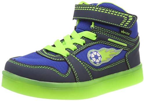 Lico Jungen Lightstar VS Blinky Hohe Sneaker, Blau (Blau/Marine/Lemon Blau/Marine/Lemon), 33 EU