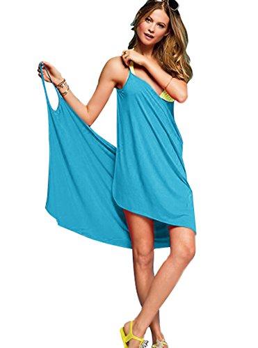Minetom Damen Sommer Sexy Ärmelloses Wickelkleid Tiefer V-Halsausschnitt Stretch Kleid Strand Bikini Kittel Rückenfrei Strandkleid Blau One Size