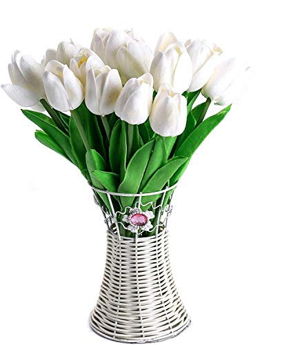 30pcs Real Touch Tulips White PU Tulips Artificial Flowers for Wedding Home Centerpiece Decoration